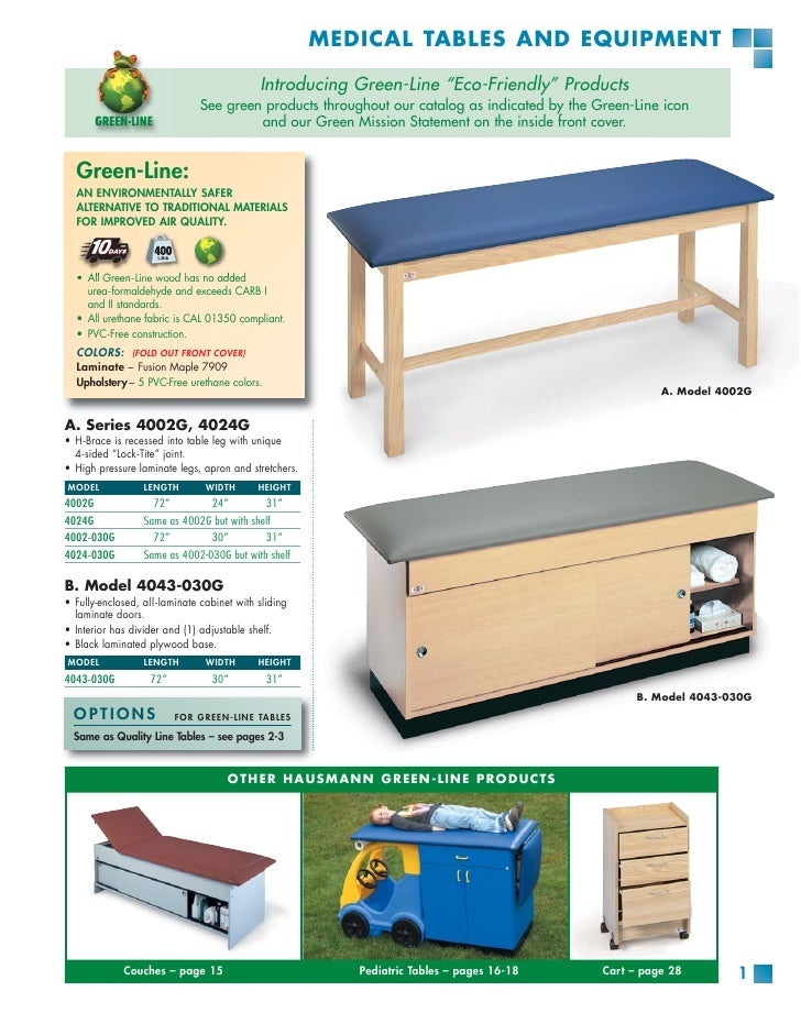 """MEDICAL TABLES AND EQUIPMENT                                              Introducing Green-Line """"Eco-Friendly"""" Products  ..."""
