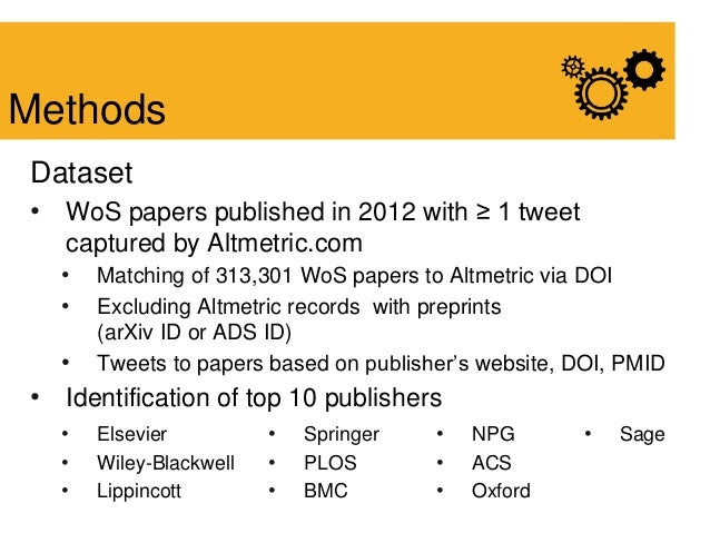 Dataset • WoS papers published in 2012 with ≥ 1 tweet captured by Altmetric.com • Matching of 313,301 WoS papers to Altmet...