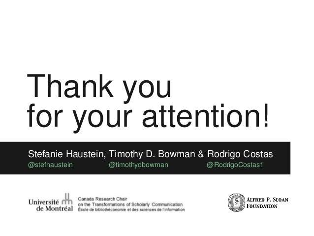 Thank you for your attention! Stefanie Haustein, Timothy D. Bowman & Rodrigo Costas @stefhaustein @timothydbowman @Rodrigo...