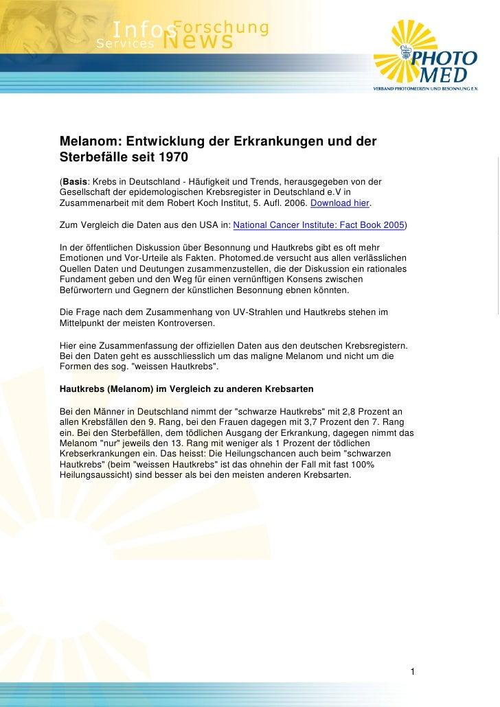 Melanom: Entwicklung der Erkrankungen und der Sterbefälle seit 1970 (Basis: Krebs in Deutschland - Häufigkeit und Trends, ...