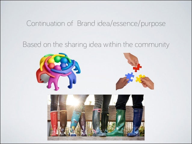 Continuation of Brand idea/essence/purpose Based on the sharing idea within the community