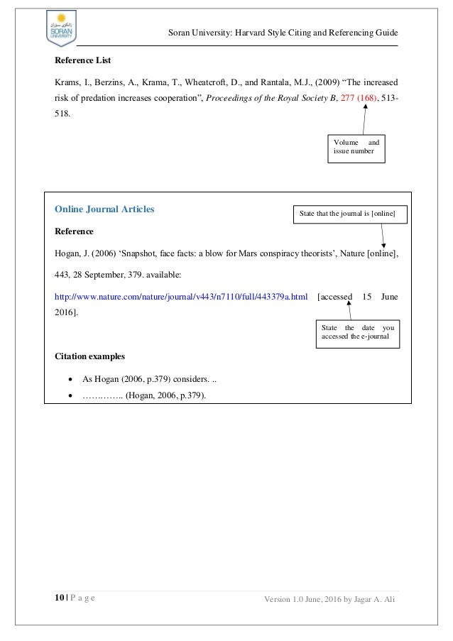 soran university  harvard style of referencing and citation guide