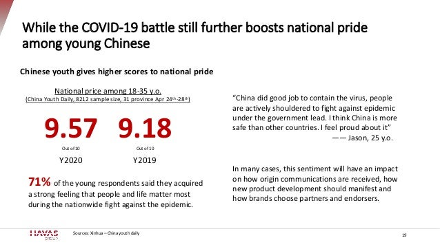While the COVID-19 battle still further boosts national pride among young Chinese 19 In many cases, this sentiment will ha...