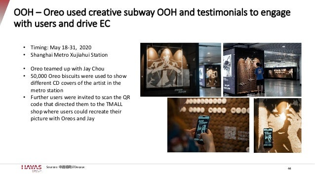 OOH – Oreo used creative subway OOH and testimonials to engage with users and drive EC • Timing: May 18-31, 2020 • Shangha...
