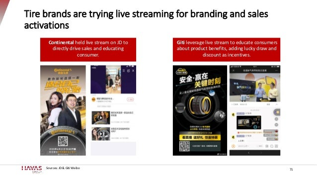Tire brands are trying live streaming for branding and sales activations 71 Continental held live stream on JD to directly...