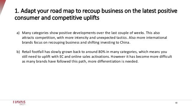 83 1. Adapt your road map to recoup business on the latest positive consumer and competitive uplifts a) Many categories sh...