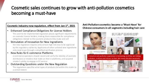 Source: China skinny Cosmetic sales continues to grow with anti-pollution cosmetics becoming a must-have Cosmetic industry...