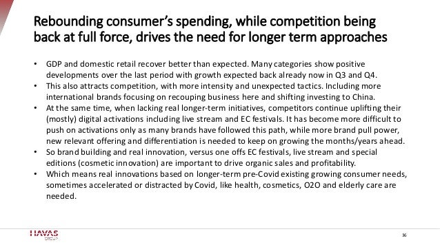 36 Rebounding consumer's spending, while competition being back at full force, drives the need for longer term approaches ...