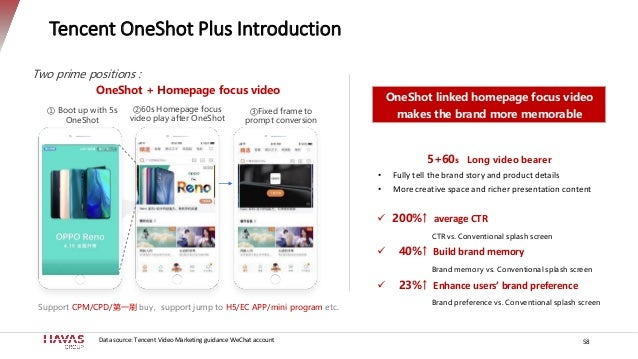 Tencent OneShot Plus Introduction Two prime positions : OneShot + Homepage focus video ① Boot up with 5s OneShot ②60s Home...