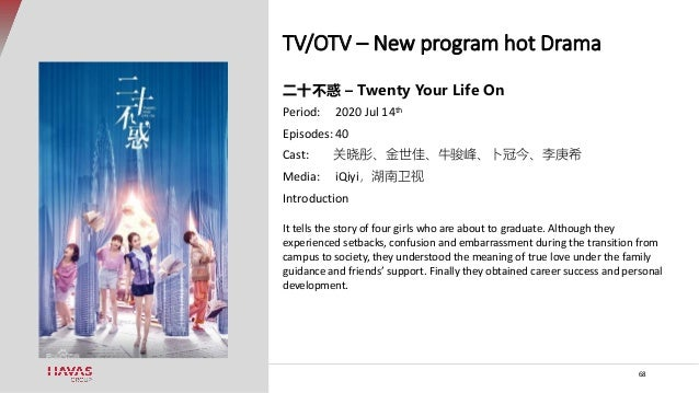 TV/OTV – New program hot Drama 68 二十不惑 – Twenty Your Life On Period: 2020 Jul 14th Episodes: 40 Cast: 关晓彤、金世佳、牛骏峰、卜冠今、李庚希 ...