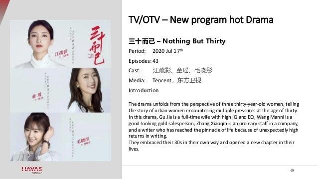 TV/OTV – New program hot Drama 69 三十而已 – Nothing But Thirty Period: 2020 Jul 17th Episodes: 43 Cast: 江疏影、童瑶、毛晓彤 Media: Ten...