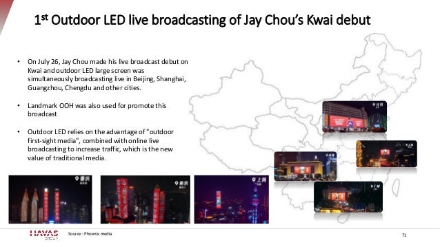 1st Outdoor LED live broadcasting of Jay Chou's Kwai debut Source : Phoenix media • On July 26, Jay Chou made his live bro...