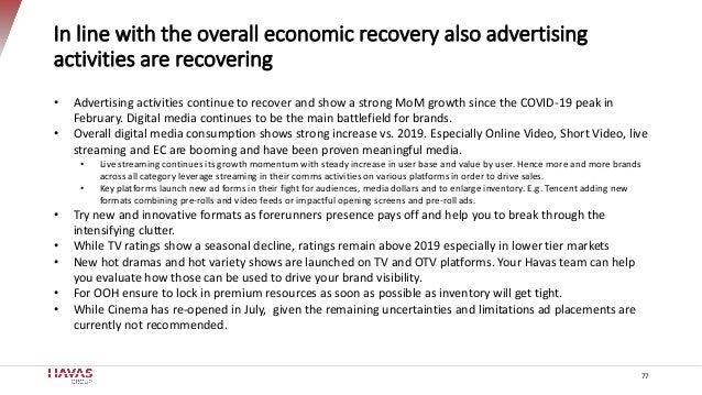 77 In line with the overall economic recovery also advertising activities are recovering • Advertising activities continue...