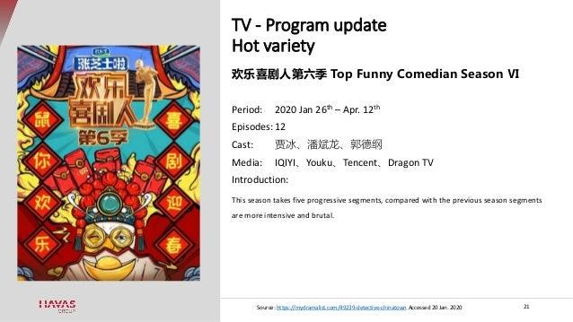 TV - Program update Hot variety 21 欢乐喜剧人第六季 Top Funny Comedian Season Ⅵ Period: 2020 Jan 26th – Apr. 12th Episodes: 12 Cas...