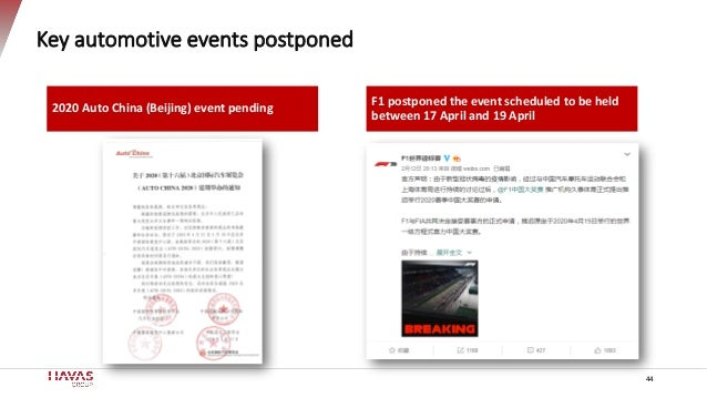 Key automotive events postponed 44 2020 Auto China (Beijing) event pending F1 postponed the event scheduled to be held bet...