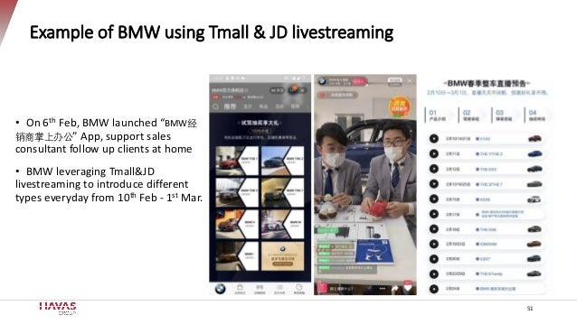 """51 Example of BMW using Tmall & JD livestreaming • On 6th Feb, BMW launched """"BMW经 销商掌上办公"""" App, support sales consultant fo..."""