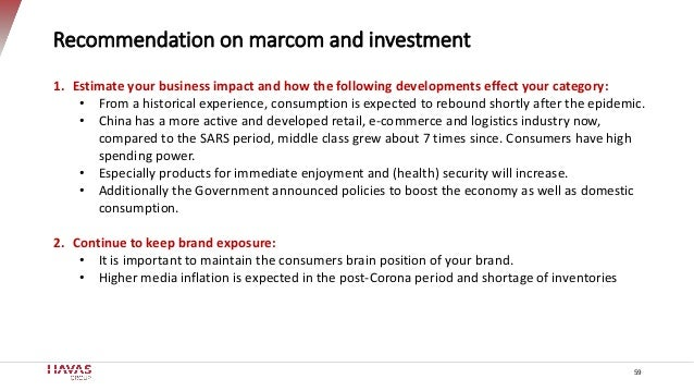 Recommendation on marcom and investment 59 1. Estimate your business impact and how the following developments effect your...