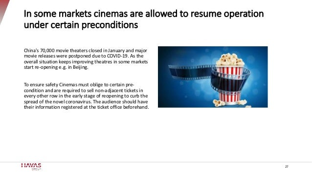 In some markets cinemas are allowed to resume operation under certain preconditions China's 70,000 movie theaters closed i...