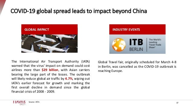 37 COVID-19 global spread leads to impact beyond China Source: IATA Global Travel fair, originally scheduled for March 4-8...
