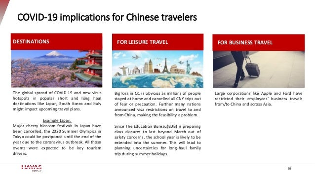 COVID-19 implications for Chinese travelers Large corporations like Apple and Ford have restricted their employees' busine...