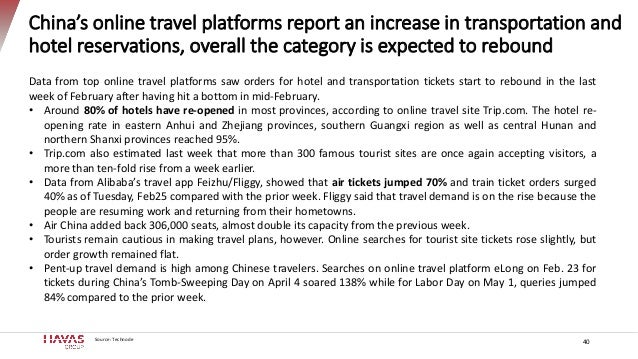 China's online travel platforms report an increase in transportation and hotel reservations, overall the category is expec...