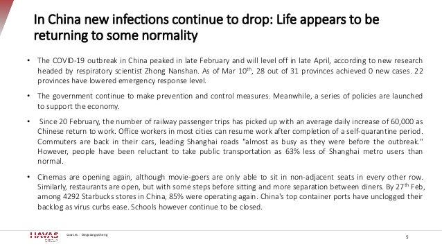 In China new infections continue to drop: Life appears to be returning to some normality 5 • The COVID-19 outbreak in Chin...