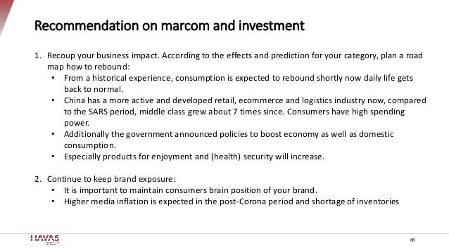 Recommendation on marcom and investment 88 1. Recoup your business impact. According to the effects and prediction for you...