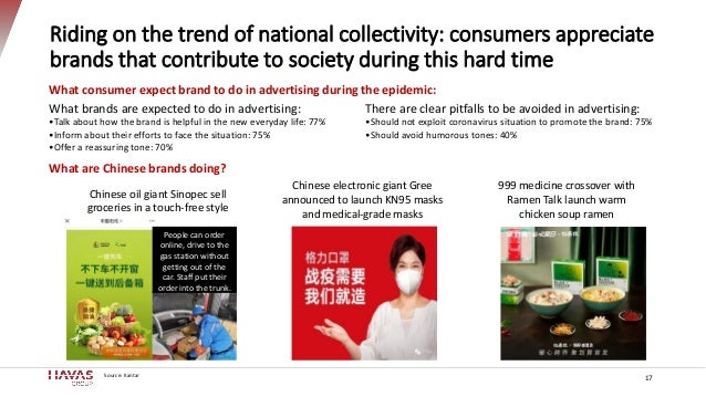 Riding on the trend of national collectivity: consumers appreciate brands that contribute to society during this hard time...
