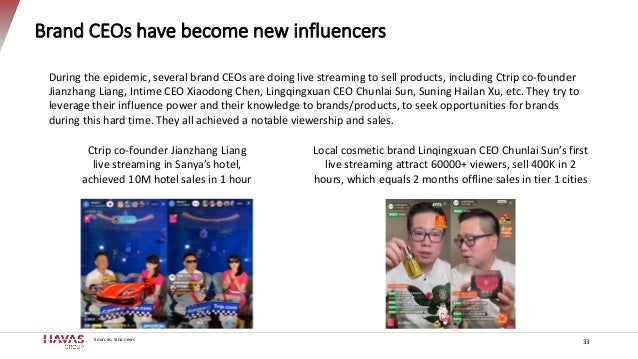 Brand CEOs have become new influencers 33 During the epidemic, several brand CEOs are doing live streaming to sell product...