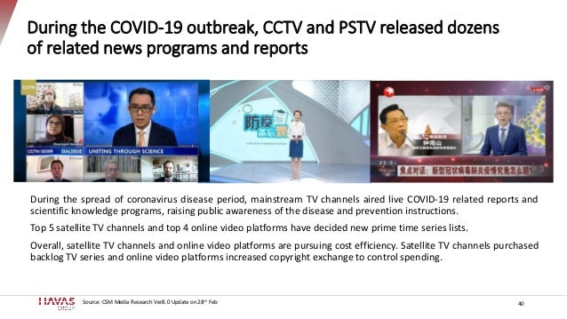 40 During the COVID-19 outbreak, CCTV and PSTV released dozens of related news programs and reports During the spread of c...
