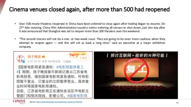 41 Cinema venues closed again, after more than 500 had reopened • Over 500 movie theatres reopened in China have been orde...