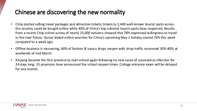 Chinese are discovering the new normality 6 Sources: China skinny; BCG • Ctrip started selling travel packages and attract...