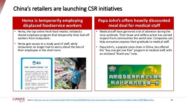 China's retailers are launching CSR initiatives • Hema, the top online fresh food retailer, initiated a shared employee pr...