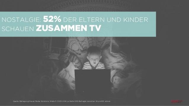 NOSTALGIE: 52% DER ELTERN UND KINDER SCHAUEN ZUSAMMEN TV Quelle: Befragung Havas Media Solutions, Welle 3: 31.03-2.04; je ...