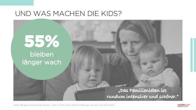 """UND WAS MACHEN DIE KIDS? 55% bleiben länger wach """"Das Familienleben ist rundum intensiver und schöner."""" Quelle: Befragung ..."""