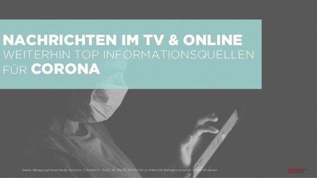 NACHRICHTEN IM TV & ONLINE WEITERHIN TOP INFORMATIONSQUELLEN FÜR CORONA Quelle: Befragung Havas Media Solutions, 3 Wellen ...