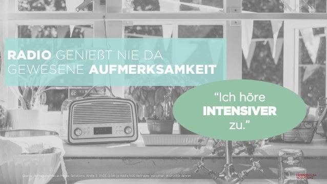 """RADIO GENIEßT NIE DA GEWESENE AUFMERKSAMKEIT """"Ich höre INTENSIVER zu."""" Quelle: Befragung Havas Media Solutions, Welle 3: 3..."""