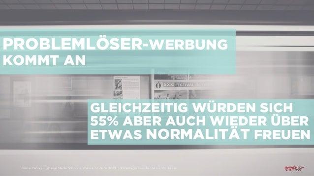PROBLEMLÖSER-WERBUNG KOMMT AN GLEICHZEITIG WÜRDEN SICH 55% ABER AUCH WIEDER ÜBER ETWAS NORMALITÄT FREUEN Quelle: Befragung...