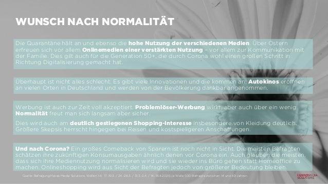 WUNSCH NACH NORMALITÄT Die Quarantäne hält an und ebenso die hohe Nutzung der verschiedenen Medien. Über Ostern erfreuen s...