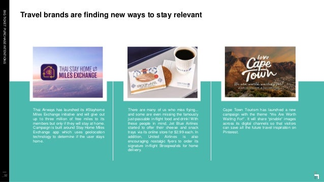 BIGTICKETPURCHASEINTENTIONS Travel brands are finding new ways to stay relevant _32 Thai Airways has launched its #Stayhom...