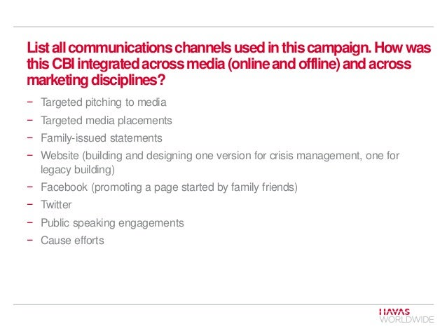 List all communications channels used in this campaign. How was this CBI integrated across media (online and offline) and ...