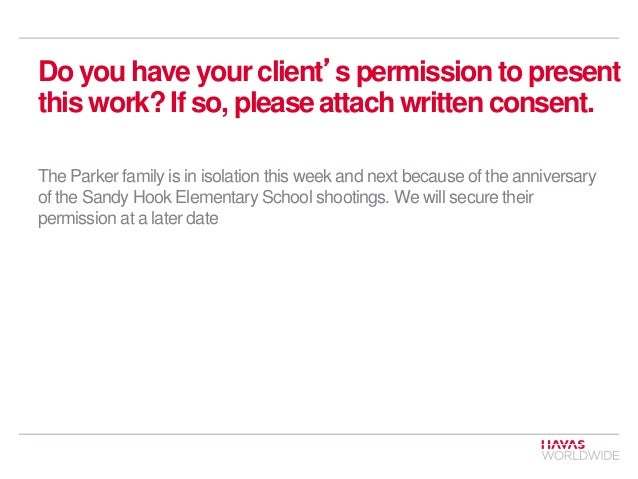 Do you have your client's permission to present this work? If so, please attach written consent. The Parker family is in i...