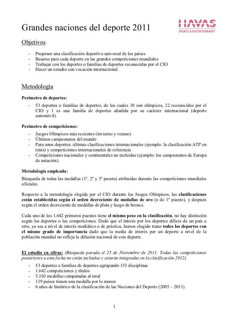 Grandes naciones del deporte 2011Objetivos   -   Proponer una clasificación deportiva universal de los países   -   Basars...