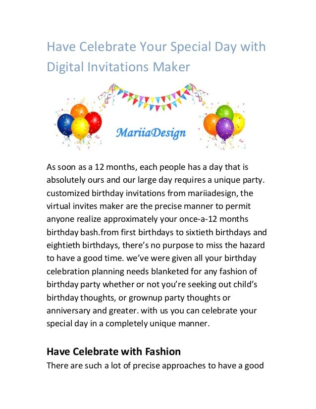 have celebrate your special day with digital invitations maker