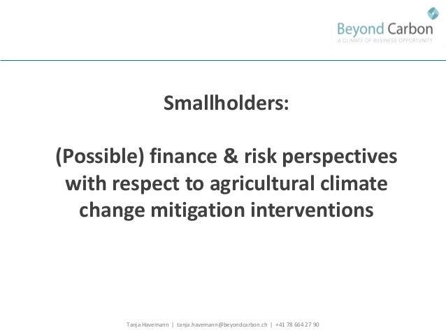 Tanja Havemann | tanja.havemann@beyondcarbon.ch | +41 78 664 27 90  Smallholders:  (Possible) finance & risk perspectives ...