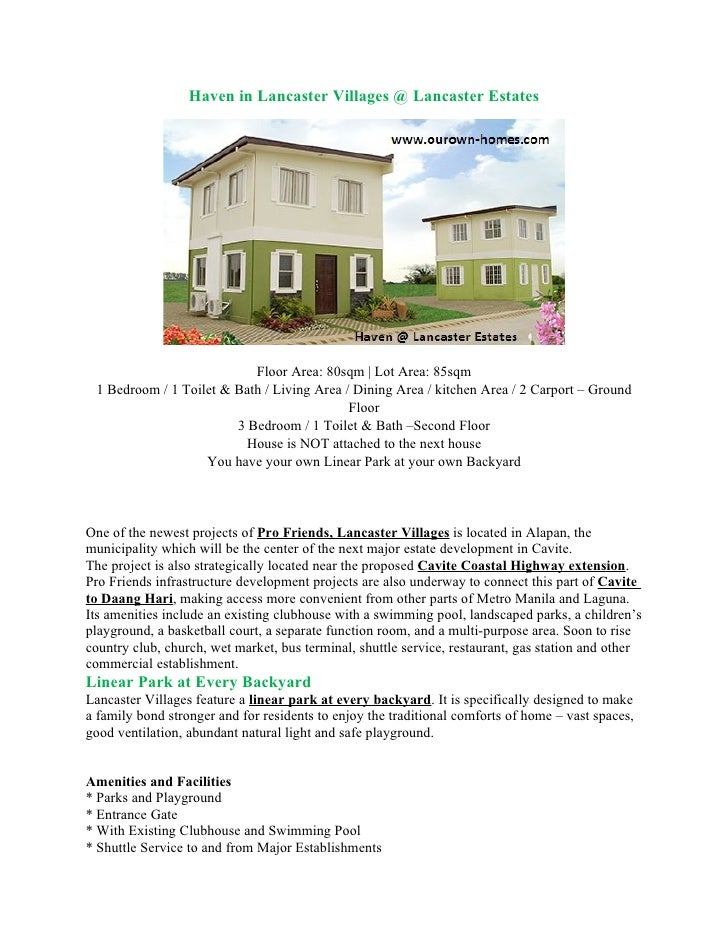 Haven in Lancaster Villages @ Lancaster Estates                                Floor Area: 80sqm | Lot Area: 85sqm  1 Bedr...
