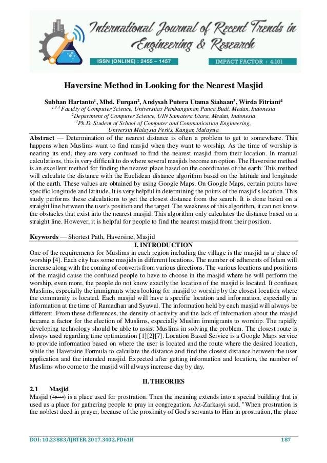 Haversine Method in Looking for the Nearest Masjid
