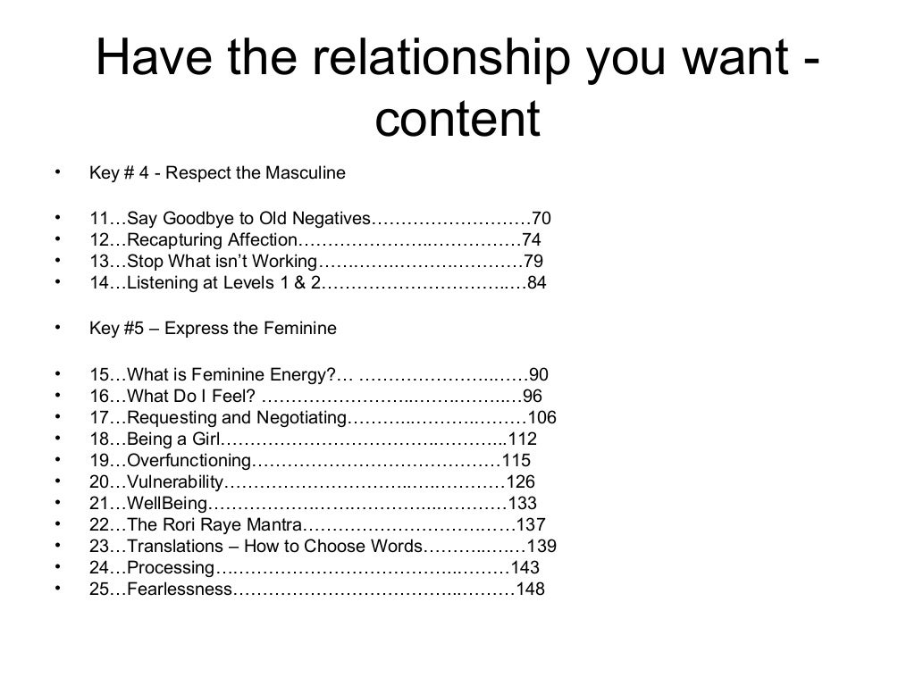 have the relationship you want forum