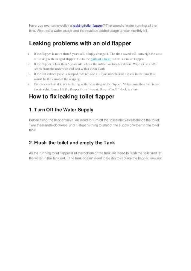 Have You Ever Annoyed By A Leaking Toilet Flapper? The Sound Of Water  Running All ...