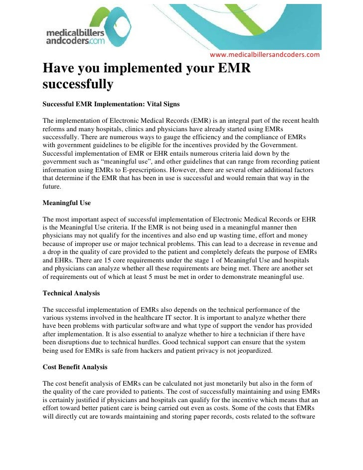Have you implemented your EMR successfully<br />Successful EMR Implementation: Vital Signs<br />The implementation of Elec...